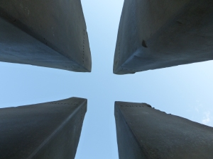 The cross revealed ....... from below